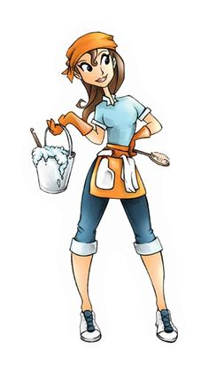 Cleaning Lady Clip Art | Absolute Maintenance provides apartment post-tanency cleaning and ...