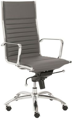 Dirk High Back Office Chair in Gray, 00675GRY by Euro Style   BizChair.com