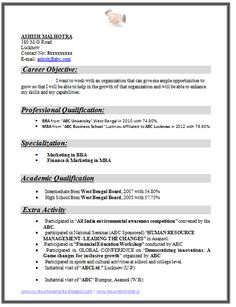 Example Template Of An Excellent MBA Finance U0026 Marketing Resume Sample For  Freshers With Great Industrial Exposure, Job Profile And Career Objective,  ...