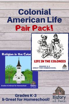 This brand new Pair Pack brings life in the colonies alive for your students through 2 lessons: Learn about life in Colonial America in lesson of a study of early American history. Learn about what it was like to live, play, worship, and learn Social Studies Notebook, Teaching Social Studies, History Education, Teaching History, Homeschool Curriculum, Homeschooling Resources, Learning Resources, American History Lessons, Teacher Resources