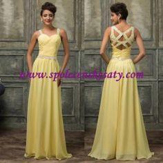 Žluté dlouhé luxusní sexy společenské svatební šaty vel. 40 44 L XL č. L161