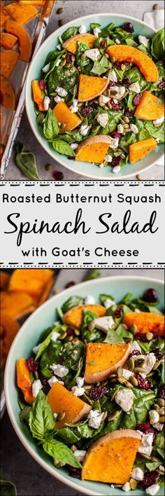 My roasted butternut squash spinach salad with goat's cheese is a healthy, delicious, and filling fall salad!