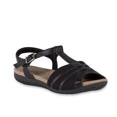 84d96b64e Usaflex Women's Monica Leather/Mesh Bunion Comfort Sandal - Black, Size: 6