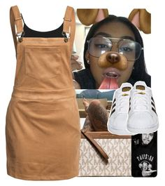 """🐶"" by aribearie ❤ liked on Polyvore featuring MICHAEL Michael Kors, adidas Originals, Miss Selfridge and Glamorous"