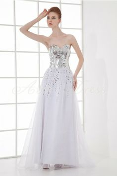 Organza , Satin Floor-length Sweetheart White Luxury, Noble Celebrity Dresses Formal Evening- Abbydress.com