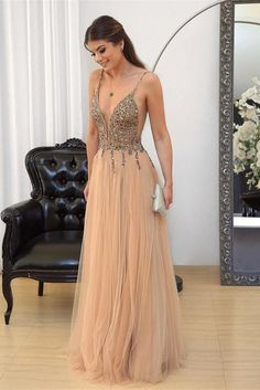 champagne prom dress, v neck evening gowns,tulle prom dress,sequins beaded prom gowns Sequin Prom Dresses, Beaded Prom Dress, A Line Prom Dresses, Cheap Prom Dresses, Prom Party Dresses, Party Gowns, Evening Dresses, Formal Dresses, Dress Prom