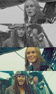 Elizabeth & Jack before and after Will comes back Captain Jack Sparrow, Pixar Movies, Sci Fi Movies, Elisabeth Swan, Game Of Thrones Movie, Will And Elizabeth, Movie Facts, Funny Facts, On Stranger Tides
