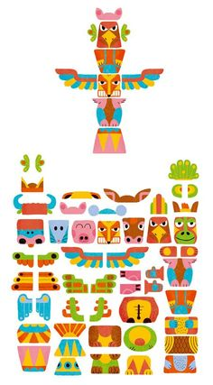 Thierry Bedouet / Totem / Toupie - Milan Presse - Fév 2011 Autocollants Totem Poles For Kids, Totem Pole Art, Indian Birthday Parties, Diy And Crafts, Crafts For Kids, Paper Crafts Magazine, Niklas, Native American Crafts, Indian Crafts