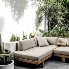 The Tribù Pure Sofa sitting nicely in this contemporary rustic courtyard design by 🙌🏼 ___ Outdoor Sofa, Outdoor Spaces, Outdoor Living, Outdoor Decor, Outdoor Fire, Sofa Area Externa, Garden Furniture, Furniture Design, Patio Lounge Furniture