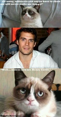 Only one person in the world can make Grumpy cat happy. Check out Henry Cavills Cougars on facebook.com