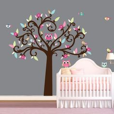 Girl Owls / Birds/ Tree Wall Decal for Baby Nursery