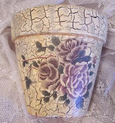 Vintage Flower Pot Crackled Terra Cotta by HoneyVintageDen on Etsy, $8.95