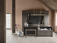 Fargen er varm og brent i tonene. Home Decor Kitchen, Rustic Kitchen, Wall Colors, House Colors, Jotun Lady, Fancy Houses, Terracota, High Quality Wallpapers, Contemporary Bathrooms