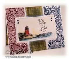 Ink Up: Lighthouse CAS Card, colored with Distress Inks and sponge daubers