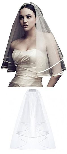 YDTQXG Bridal Veil short 2-stage with satin edge White