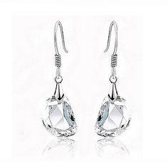 Women 925 Sterling Silver Plated Ear Hook Crystal Rhinestone Dangle Earrings ^^