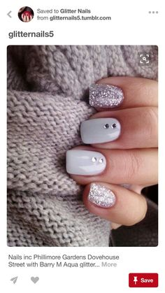 LIKES: texture of sweater, pastel nail color, hint of girly with glitter and jewel but simple design
