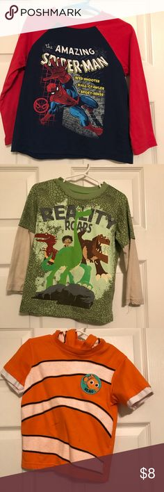 Lot of 3 character shirts! EUC EUC. Spider-Man, The Good Dinosaur, Finding Nemo Shirts & Tops Tees - Long Sleeve