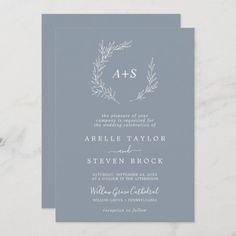 Minimal Leaf | Blue & White All In One Wedding Invite. Click to customize with your personalized details today.