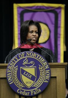 Michelle Obama giving the commencement address at the University of Northern Iowa graduation, Saturday, May at the UNI-Dome in Cedar Falls, Iowa. University Of Northern Iowa, Teachers College, Cedar Falls, Best Kept Secret, Iowa Hawkeyes, Iowa State, Community College, May 7th, Michelle Obama