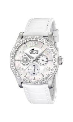 Lotus Women's L15684/1 White Leather Quartz Watch with White Dial Lotus. $116.40. Quartz Movement. 50 Meters / 165 Feet / 5 ATM Water Resistant. Mineral Crystal. 41mm Case Diameter