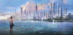 Futuristic City, Futuristic Architecture, City Landscape, Fantasy Landscape, Types Of Fiction, St Just, Sci Fi City, Future Buildings, Gato Anime