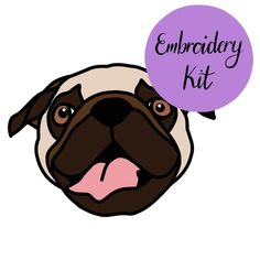Your place to buy and sell all things handmade Embroidered Gifts, Embroidery Kits, Fabric Patterns, Linen Fabric, Make Your Own, Pugs, Scooby Doo, Cartoon, Stitch