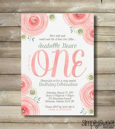 Girl First One Birthday Party Invite Invitation Coral Pink Green Turquoise Gray Roses Flowers Watercolor Ranunculus Cute Sweet Fun DIY - chrySSa-flowers Baby First Birthday, First Birthday Parties, Girl Birthday, First Birthdays, Birthday Ideas, Birthday Party Celebration, Birthday Party Invitations, Sweet 16, Pink