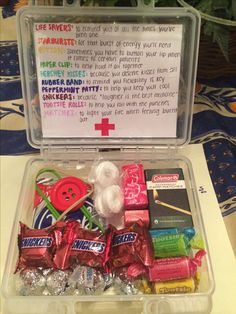 """""""doctor survival kit""""! This was a super cute gift my daughter and I made for my dad who's a doctor."""