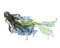 Mermaid Painting Watercolor Painting by TheColorfulCatStudio