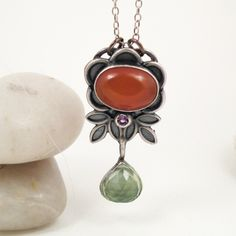 Amethyst Prehnite Carnelian Sterling Silver Multi Gem Necklace - Free From the Earth