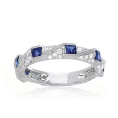 Sapphire stones with diamond accents