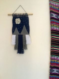 Woven Wall Hanging  Mountains & Moon by odioddsandends on Etsy