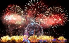 London Eye Fireworks Happy New Year HD Wallpaper