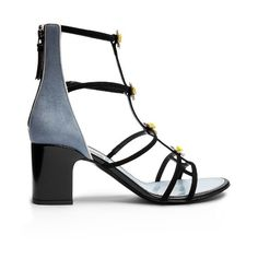 Fabrizio Viti Daisy-embellished suede sandals ($925) ❤ liked on Polyvore featuring shoes, sandals, black blue, black suede sandals, black block heel sandals, floral print sandals, black sandals and suede sandals