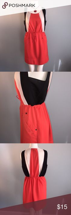 """Akira Color Block Dress/Tunic Showing minimal wear, this melon, black and cream dress or tunic looks great with sandals or over leggings. Skirt portion is lined. 97% polyester, 3% spandex. Machine or hand wash. Bust 38"""" waist adjustable with drawstring belt and length 31 1/2"""" AKIRA Dresses Mini"""