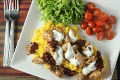 Halal Cart-Style Chicken and Rice with White Sauce #SundaySupper