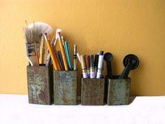Industrial Utensil Holder, Sea Green Upcycled Metal Pipe Container - pen holder - kitchen utensil holder. $18.00, via Etsy.
