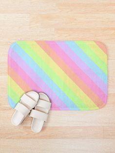 Pastel Retro Rainbow Diagonal Stripes 2 Bath Mat Funny Bathroom Decor, Bathroom Humor, Foam Cushions, Handmade Shop, Bath Mat, Beautiful Homes, Pastel, Stripes, Rainbow