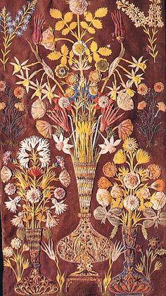 Ottoman paper-cut art & Osmankı Katı' Sanatı & Geleneksel Türk El Sanatları & Cut-paper work composition of flowers in tall vases. The flowers include narcissi, tapering Ottoman tupips, chrysanthemums and roses. DEPARTMENT OF WAKFS Origami And Quilling, Paper Quilling, Old Paper, Paper Art, Paper Cutting, Mixed Media Collage, Paper Weaving, Turkish Art, Illuminated Manuscript