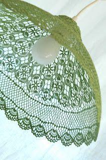 les très belles créations textiles de Véronique Damart, Les Abats-jours...Avec des napperons en dentelle tulipe, cloche ou boule diametre en 30 & 40 cm