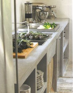 concrete & natural wood kitchen Amazing atmosphere kitchen Recommended by #JerusalemChimes