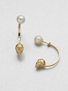 Delfina Delettrez - Skull and Freshwater Pearl Earrings - Saks.com