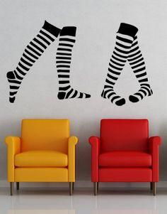Striped Socks, Set 2 Stripes, Stockings - Decal Sticker, Vinyl, Wall art
