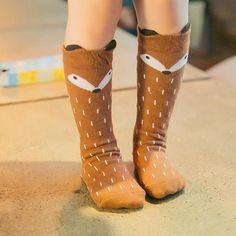 f0a242c57 Foxx Knee High Socks - Gray or Brown Bear Animal, Baby Girls, Kids Girls
