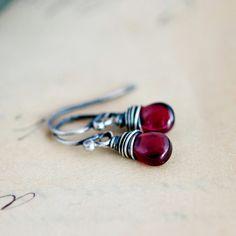 Garnet Earrings Drop Earrings Wire Wrapped January by PoleStar