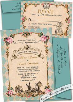 New to CupidDesigns on Etsy: Wonderland Wedding invitations. Elegant Alice in wonderland wedding invitation. Unique Mad hatter tea party wedding invitation. Personalized (4.50 USD)