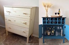 3 Drawer Chest to Bar Cabinet Ikea Hacks, 3 Drawer Chest, Recycling, Sweet Home, Projects To Try, New Homes, Shelves, Fancy, Make It Yourself