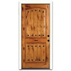 $698 Steves & Sons Rustic 2-Panel Plank Stained Knotty Alder Wood Entry Door-2250KAPALH at The Home Depot