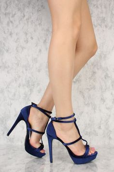 bba104cd8b5c Navy Velvet Double T-Strap Open Toe Platform Pump High Heels